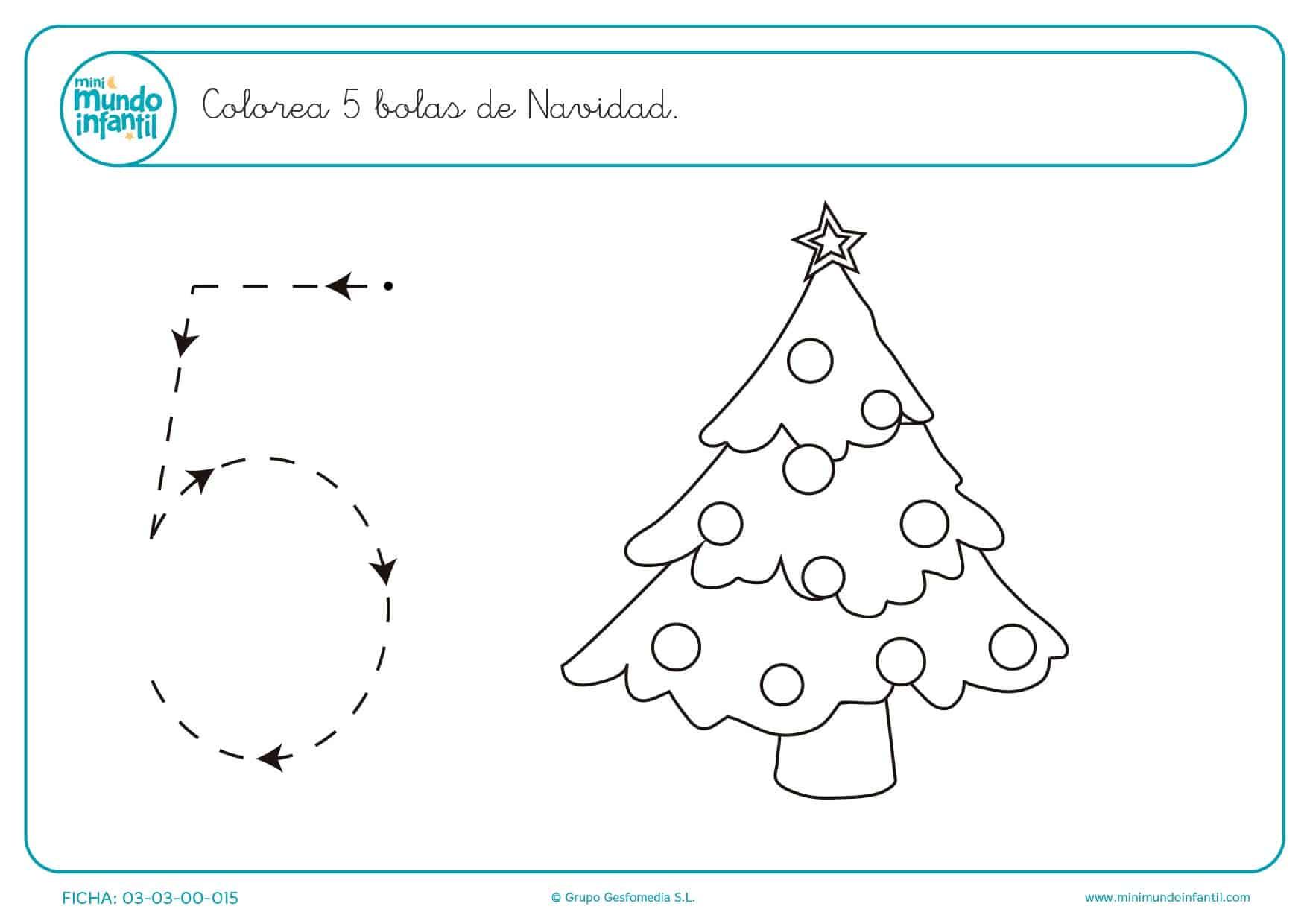 Continuar el trazado y colorear 5 bolas de Navidad