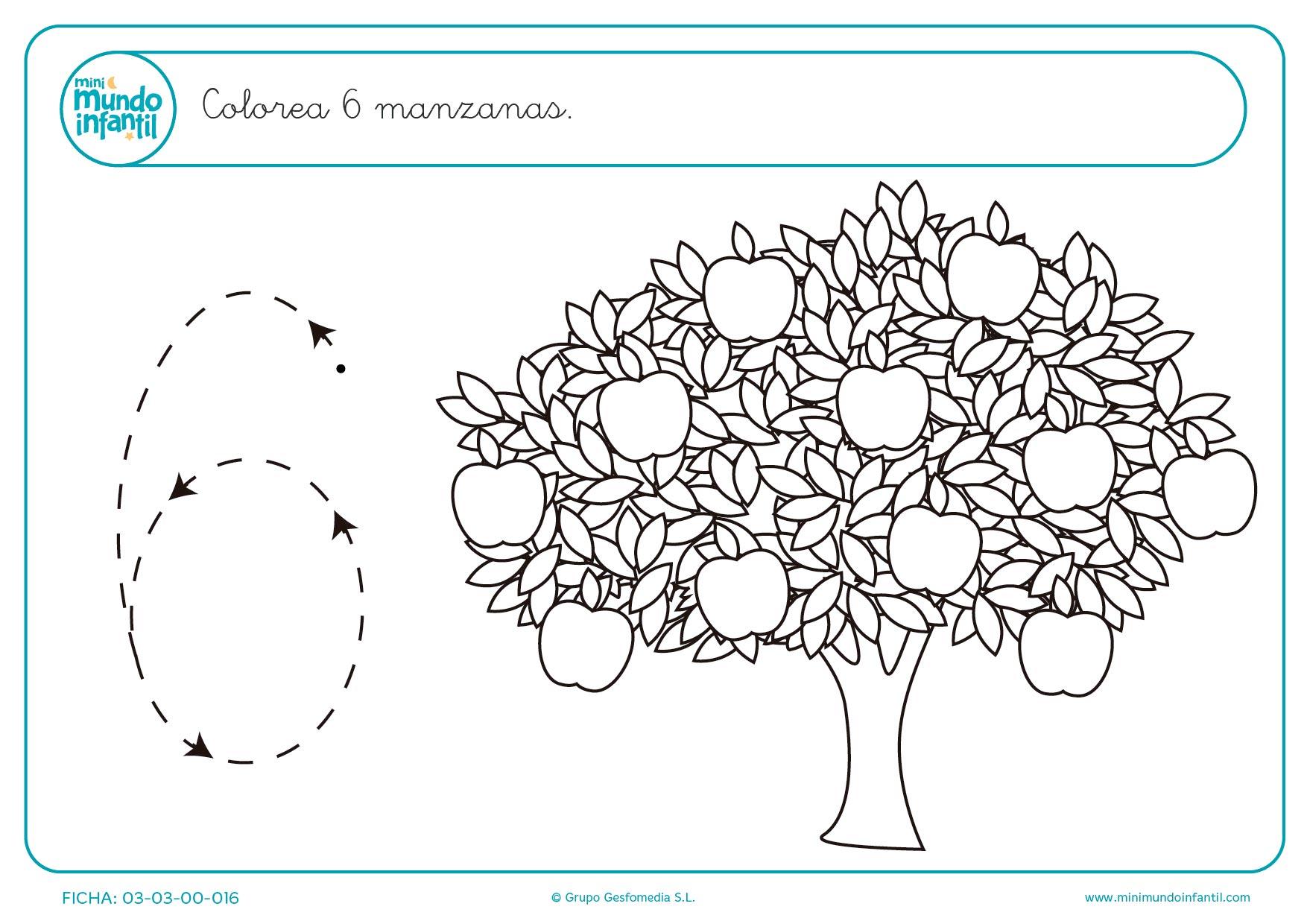 Colorear 6 manzanas