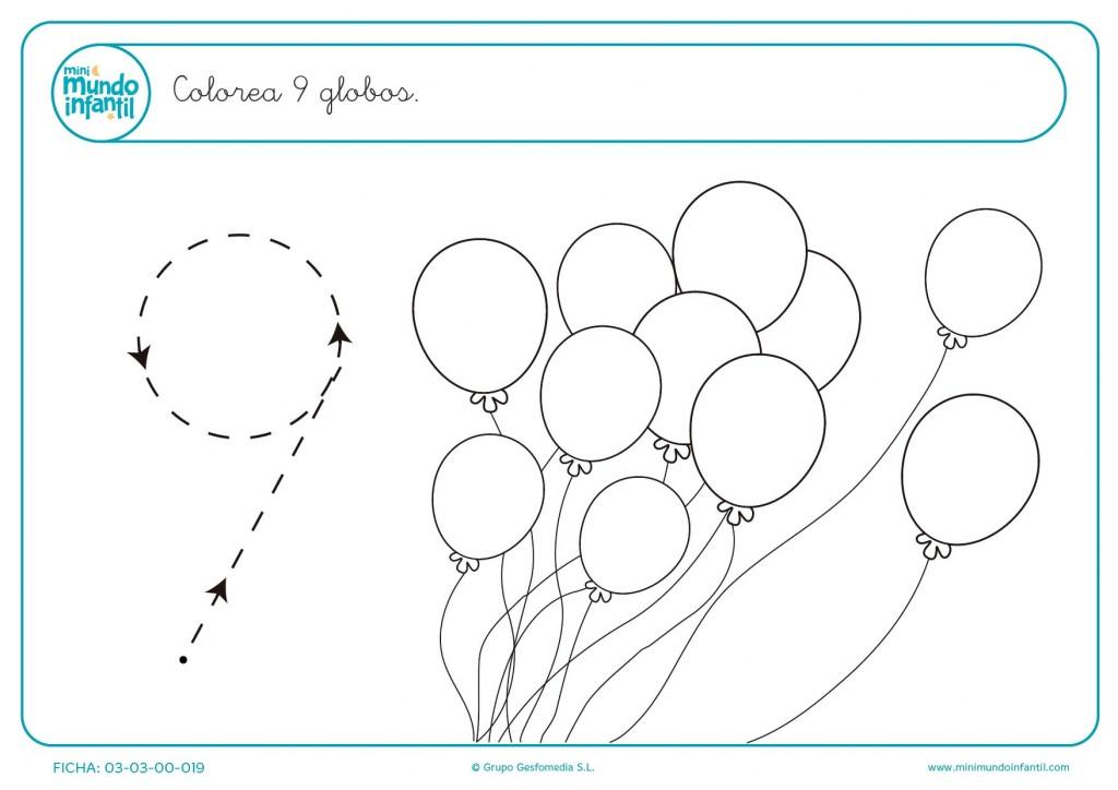 Repasar el número 9 y colorear 9 globos