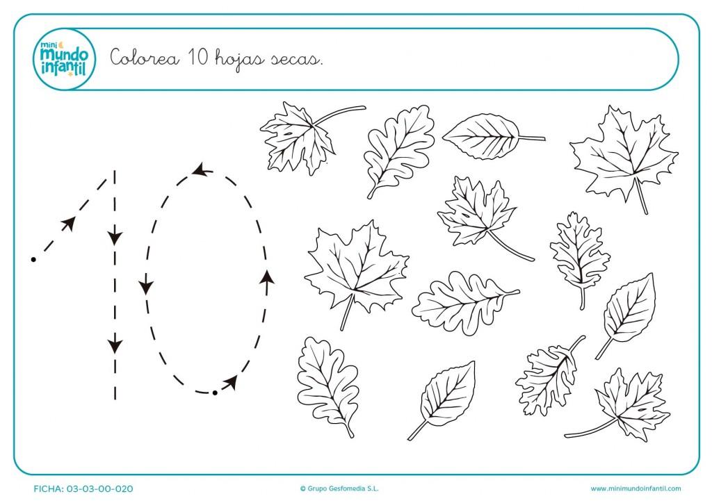 Trazando las líneas del número 10 y pintando 10 hojas secas