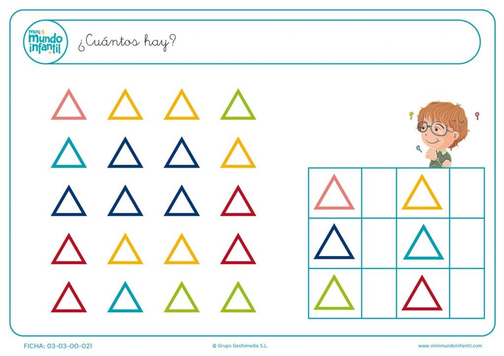 Contar el número de triángulos de colorines y copiar el resultado