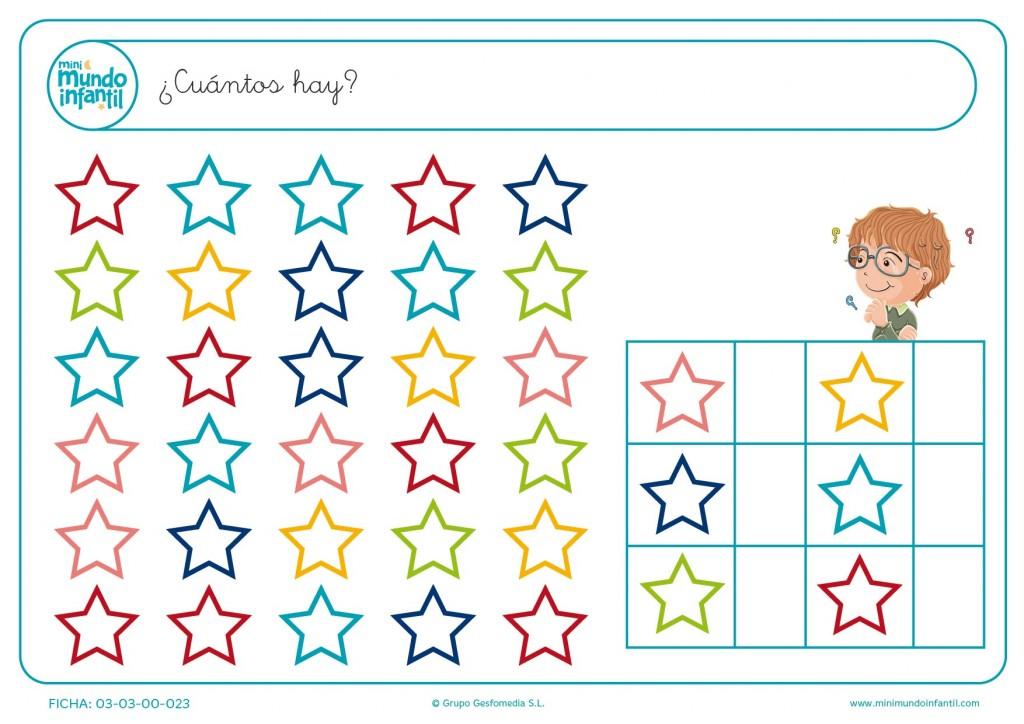 Numerar las estrellas y colocar el número total por colores