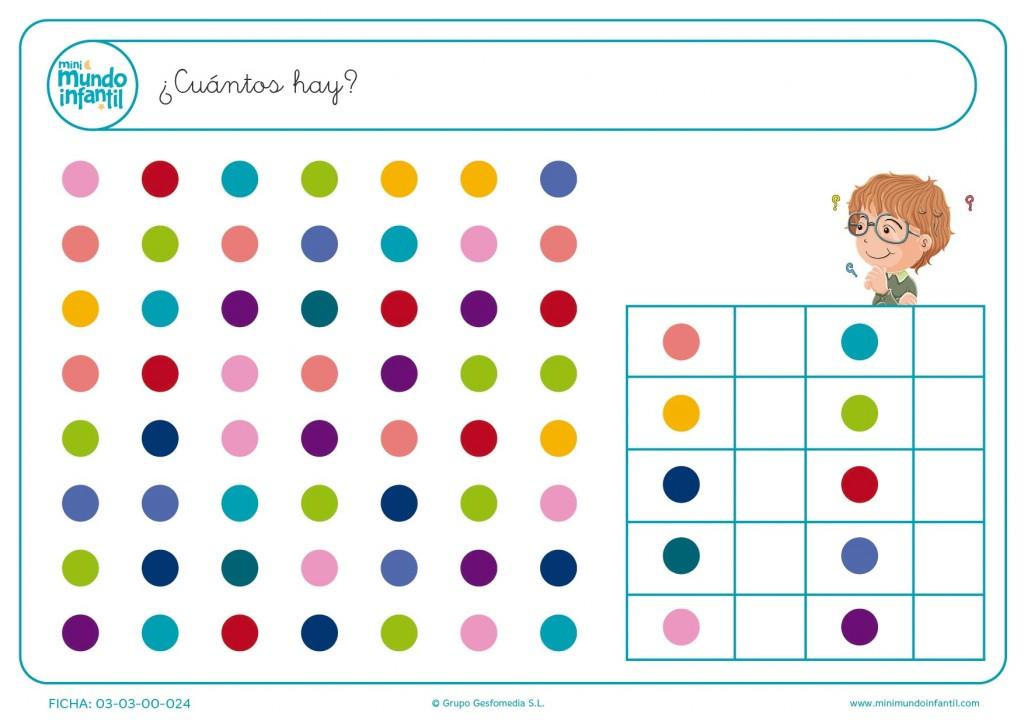 Contar los puntitos de colores en filas y escribir cada número