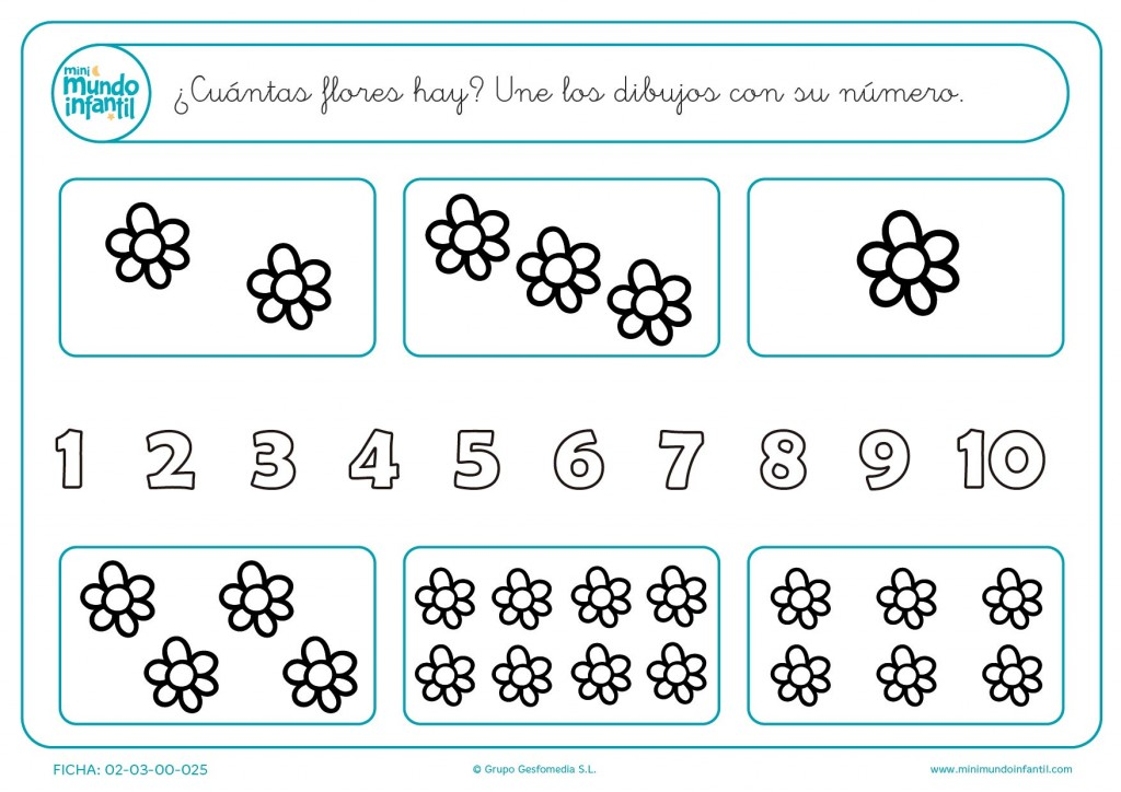 Calcular el número de margaritas y unirlas con cifra correspondiente