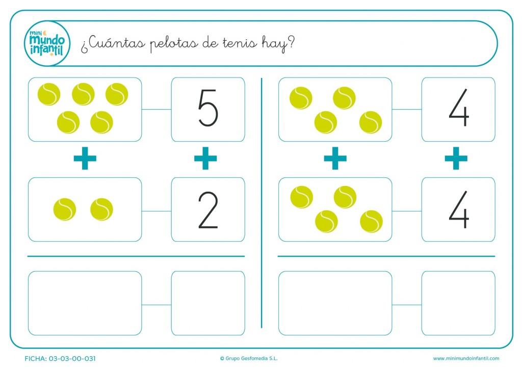 Escribir el número de pelotas de tenis verdes después de las sumas
