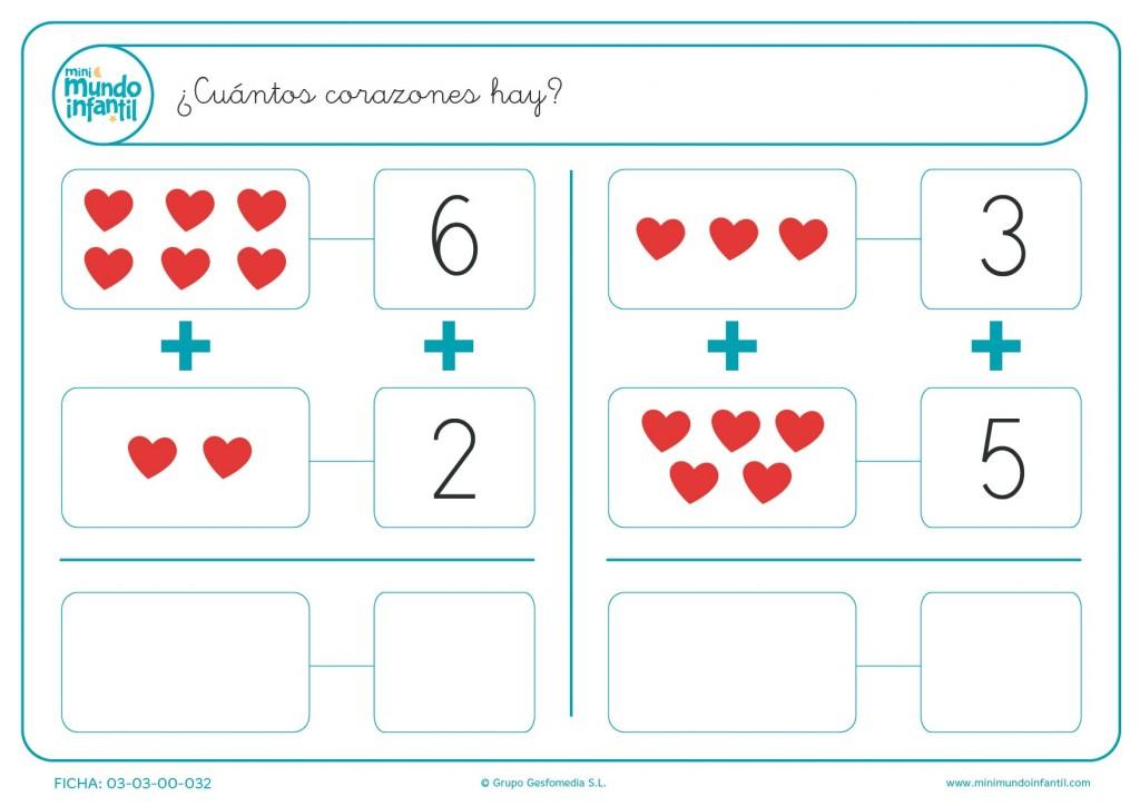 Contar y sumar el número de corazones rojos que hay en cada cuadro