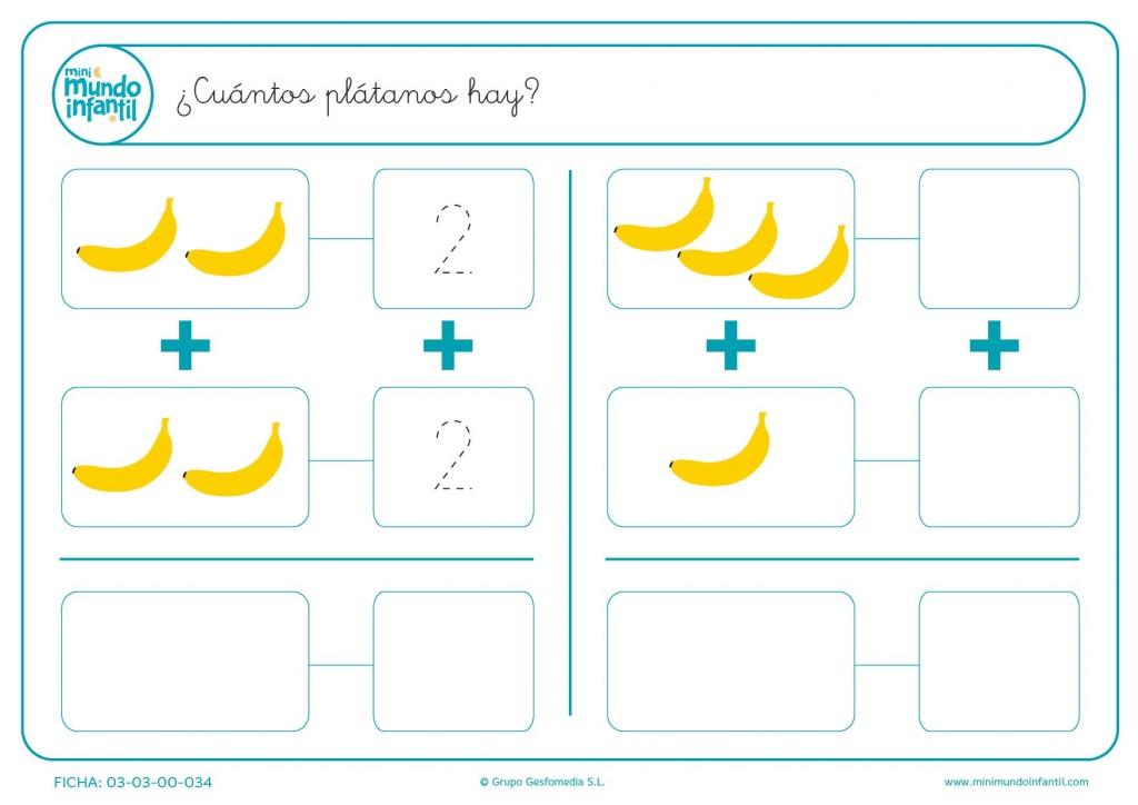 Calcular el númerode plátanos que hay en cada cuadro y escribirlo