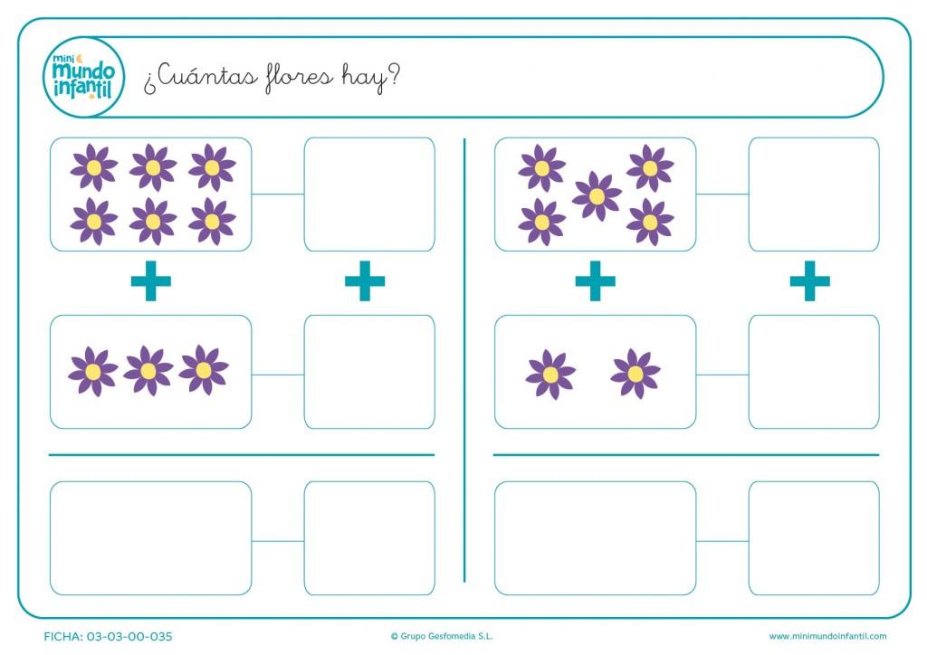 Escribir el número de flores moradas y amarillas de cada apartado