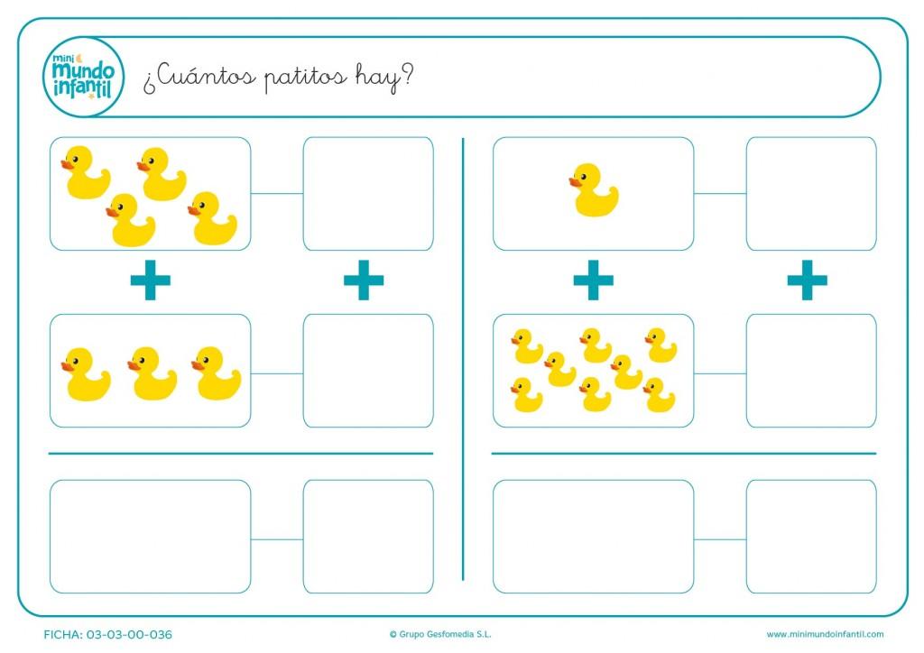Computar la suma del número de patos amarillos que hay en la ficha