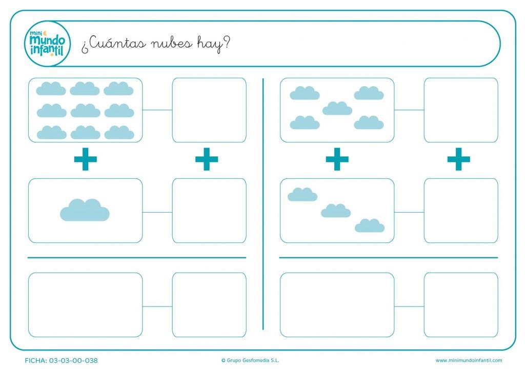 Calcular las nubes que hay en cada recuadro y escribir el resultado