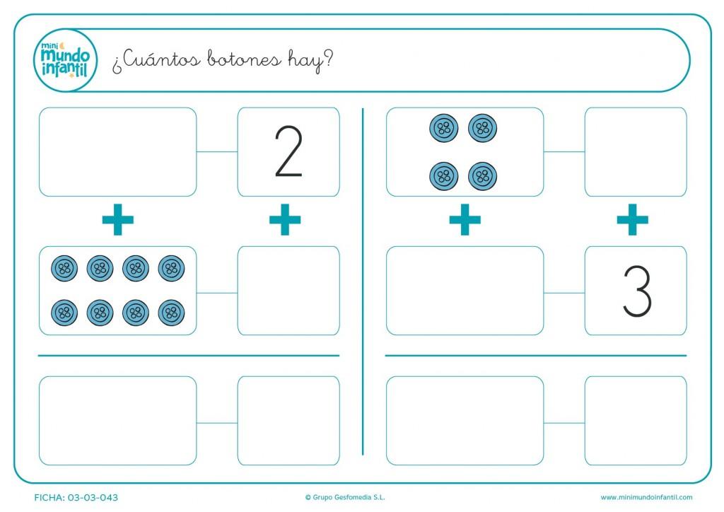 Escribir y dibujar el número de botones azules que hay en la ficha