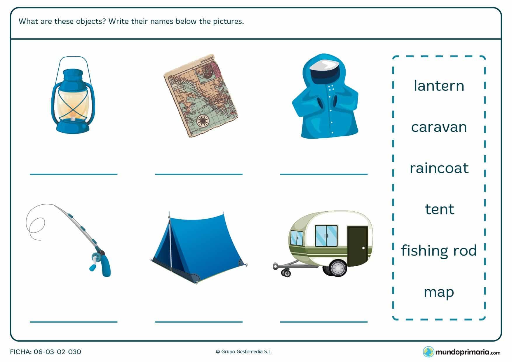 Ficha en la cual los niños deben escribir el nombre de cada objeto en inglés sobre camping.