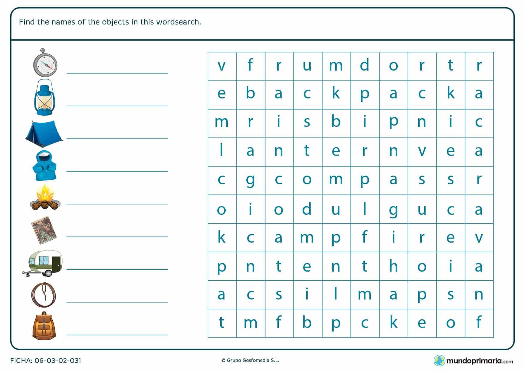 Ficha en la que los niños escribirán el nombre de cada objeto de acampada y después lo buscarán en una sopa de letras, rodeando cada palabra.