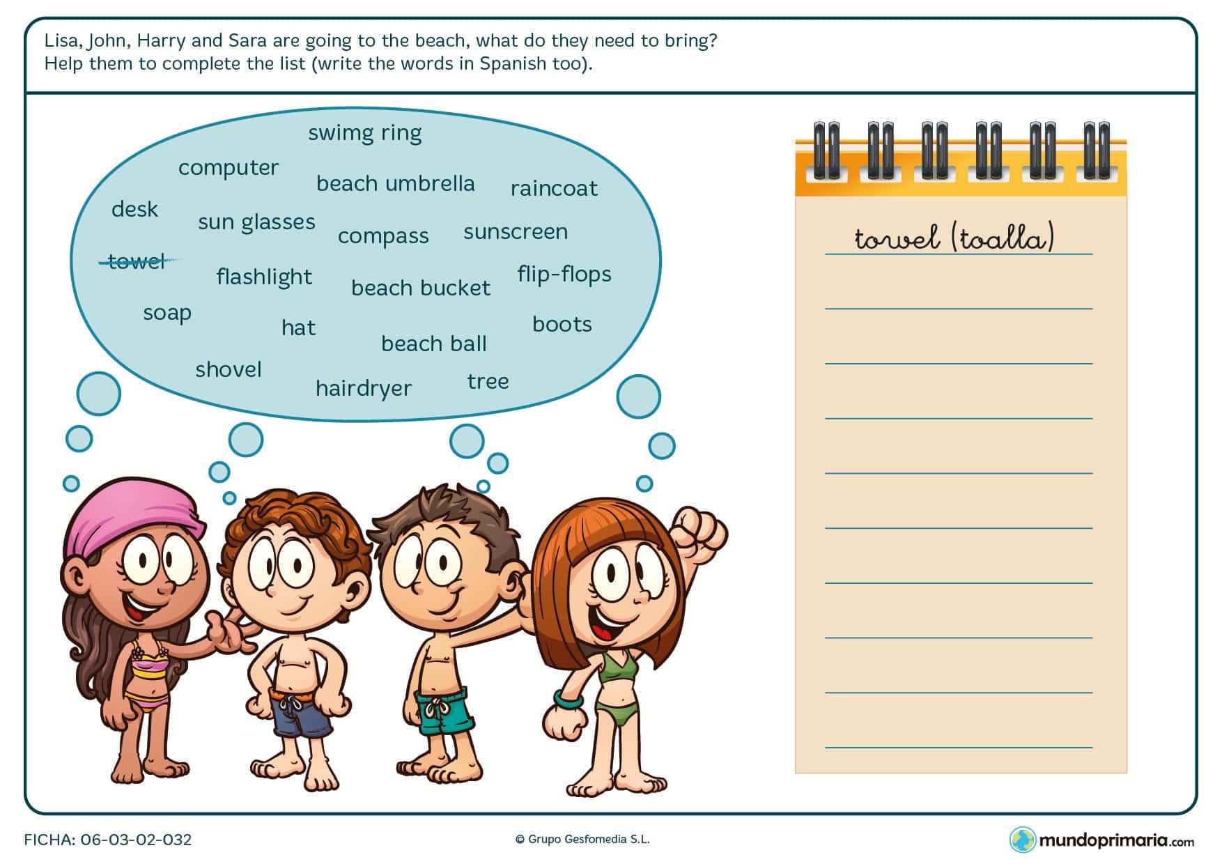 En esta ficha los niños deben escribir las palabras relacionadas con la playa que necesitan Lisa, John, Harry y Sara en una libreta.