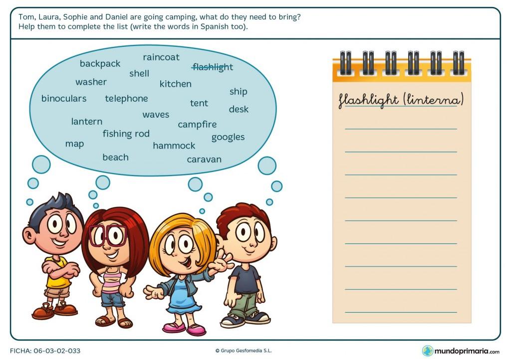 Ficha de diferenciar vocabulario de camping de otras temáticas para primaria
