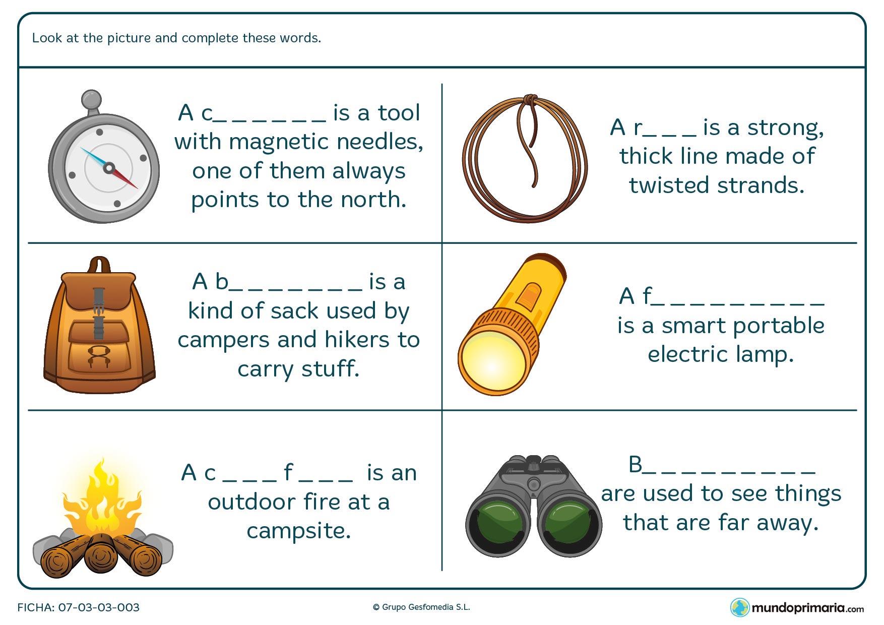 Ficha para completar los huecos de las definiciones de vocabulario de campamento en inglés.