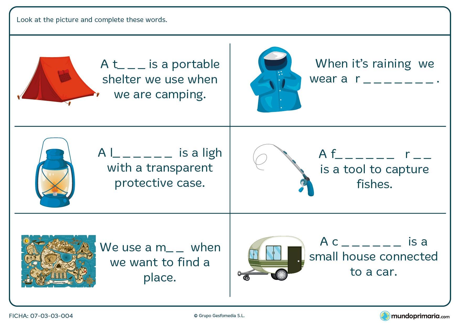 Ficha para completar los huecos en blanco y crear palabras de vocabulario de campamento.