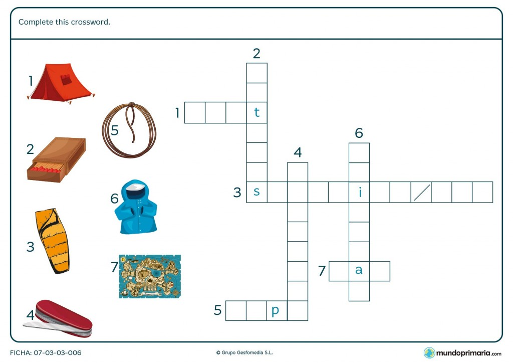 Ficha con un crucigrama de vocabulario en inglés para Primaria