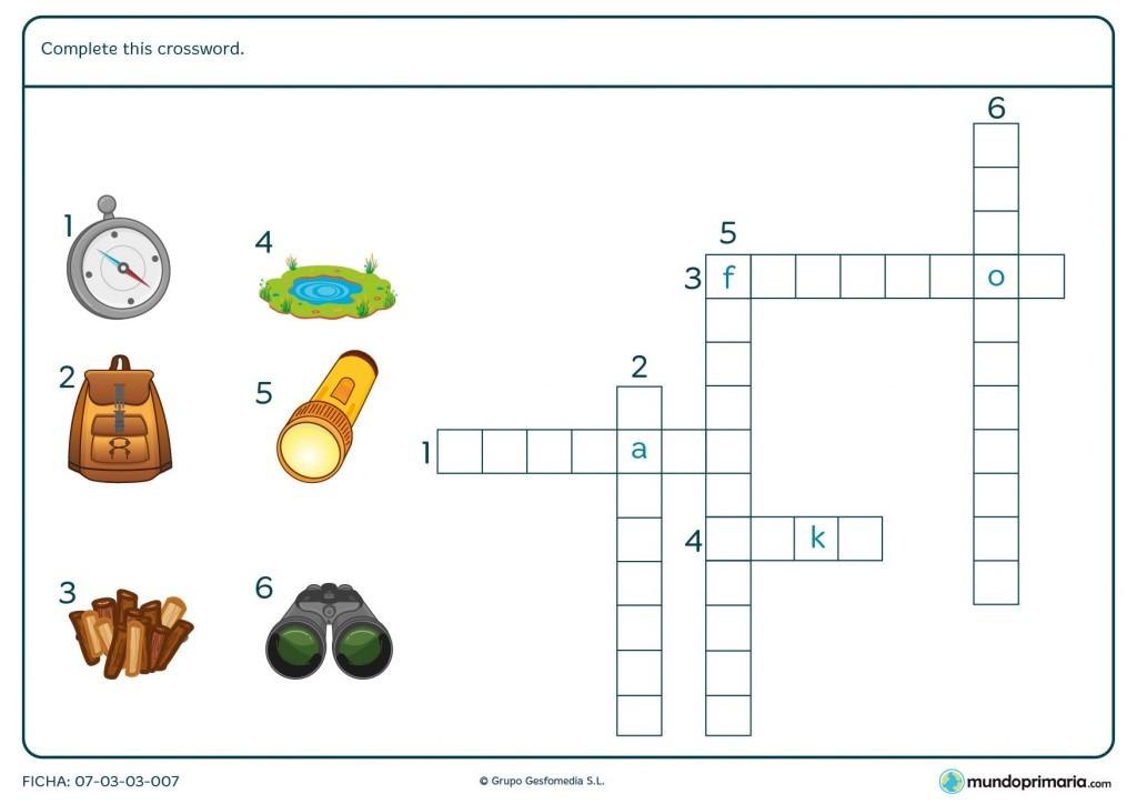Ficha con crucigrama con vocabulario en inglés para Primaria