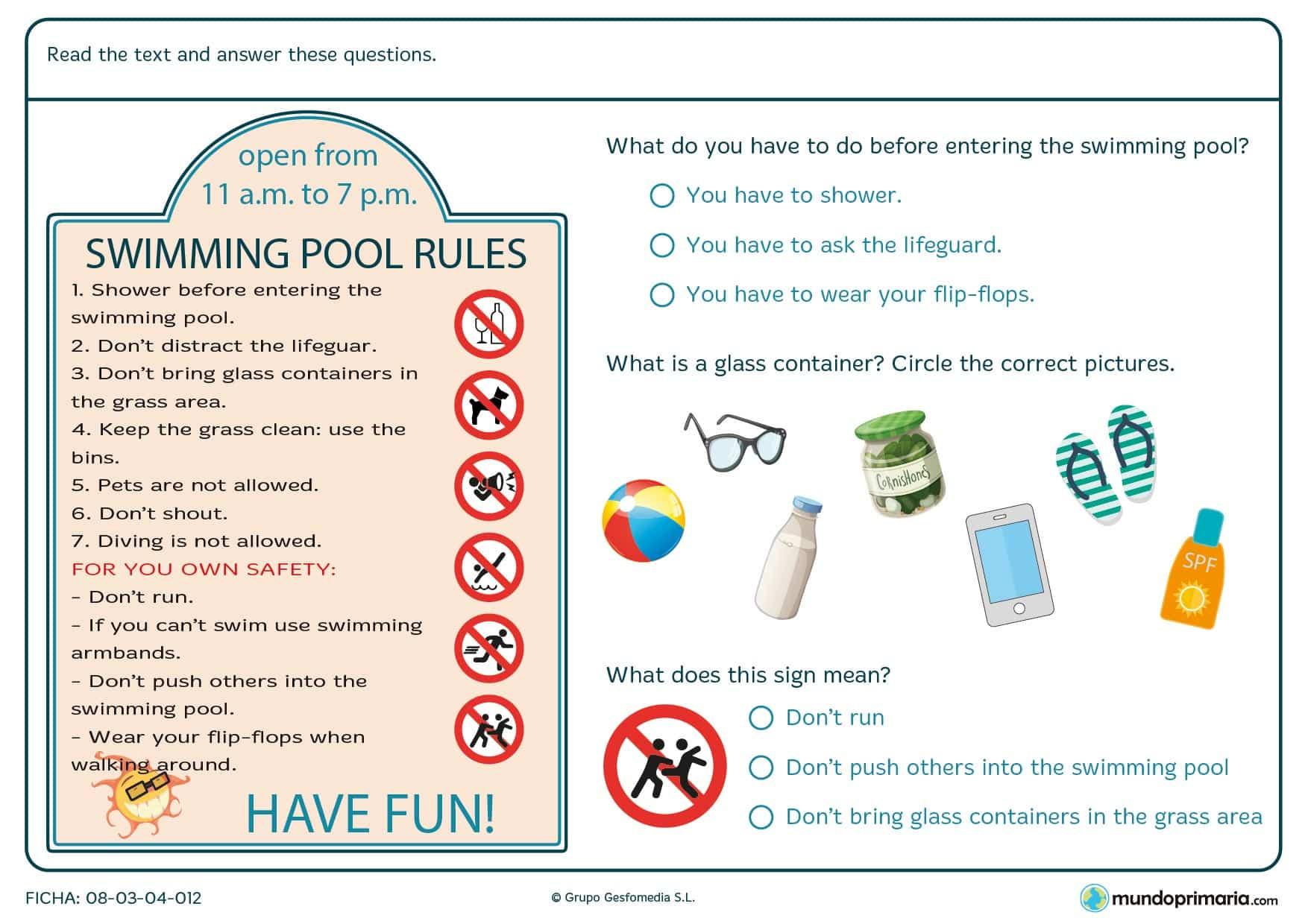 Cartel con una lista de reglas que hay que cumplir en una piscina y una serie de preguntas para comprobar la comprensión de las reglas.