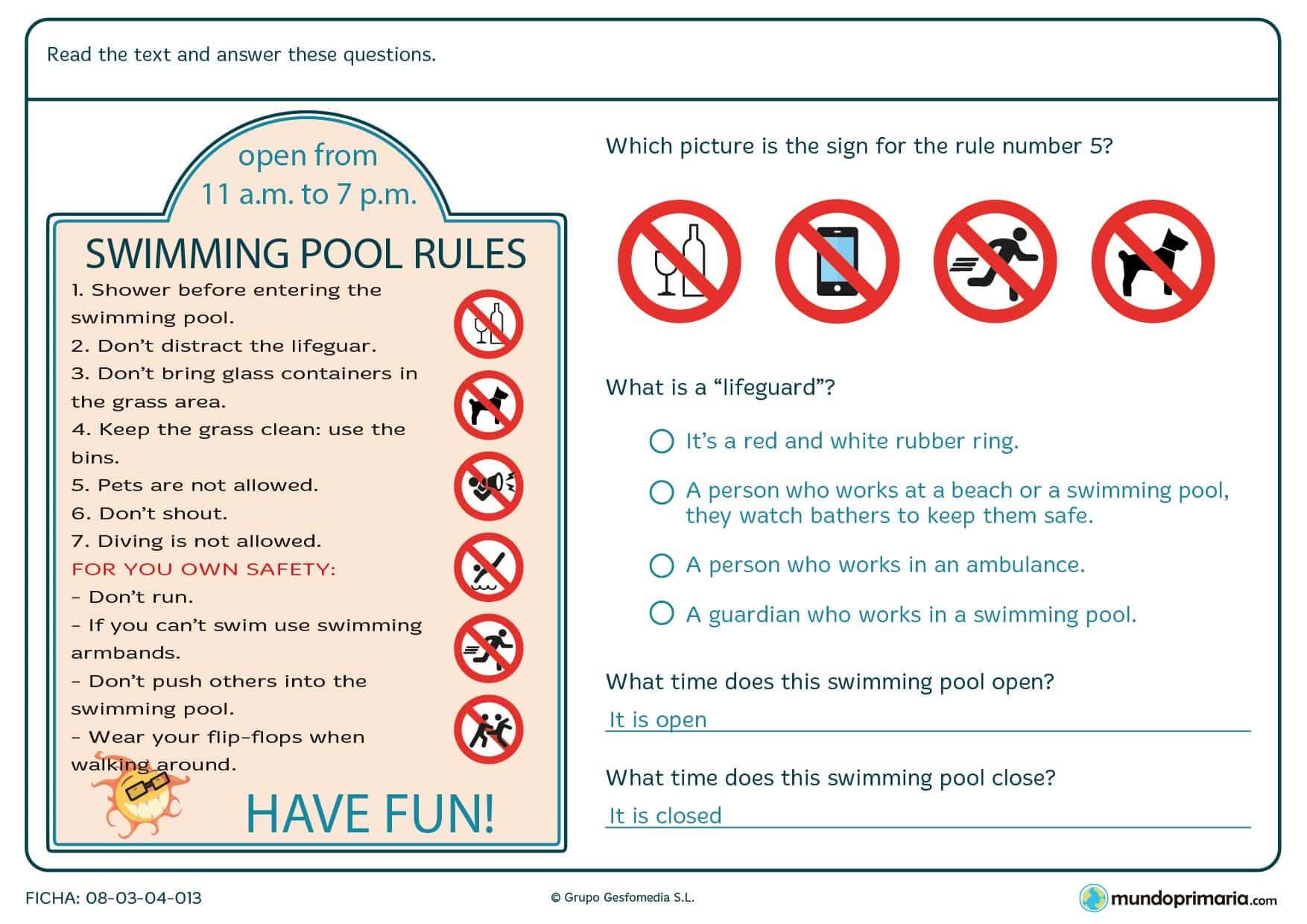 Preguntas sobre las normas de la piscina con un cartel con las reglas.