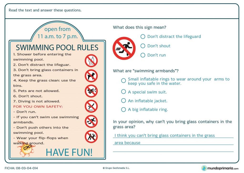 Ficha sobre las normas principales de una piscina para 6º