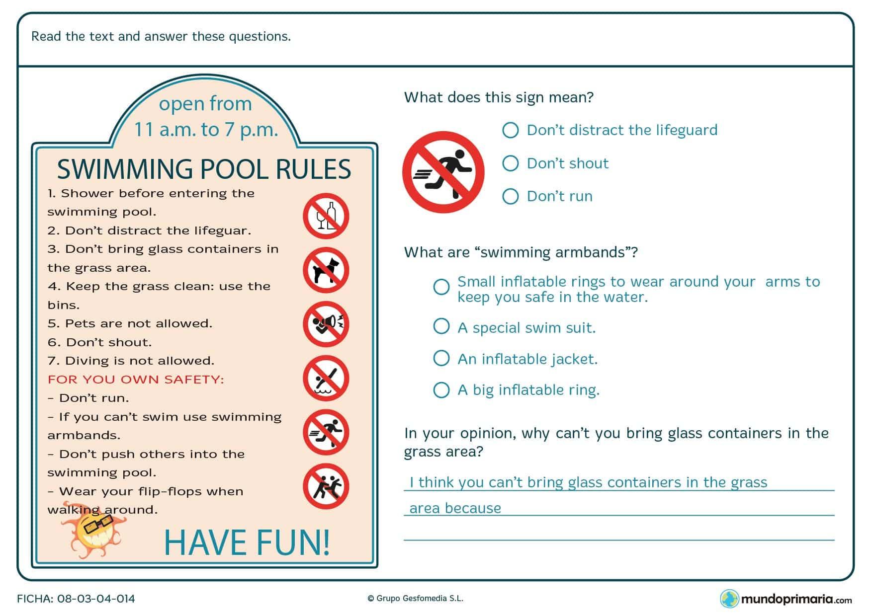 Responder a las preguntas del cartel de las normas de una piscina.
