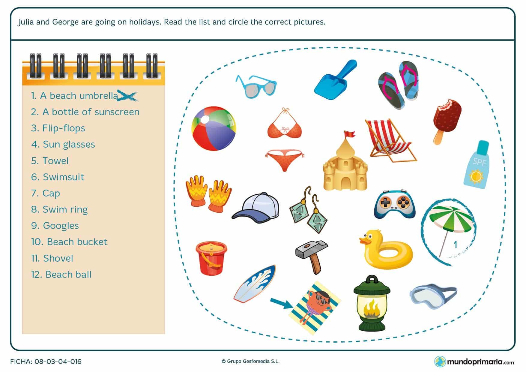 Lista de objetos que hay que llevar a la piscina con su imagen para relacionar