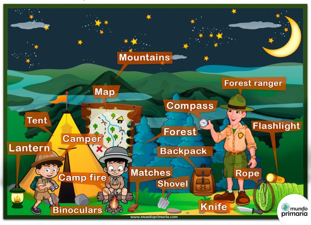 Infografía educativa: El camping, vocabulario en inglés