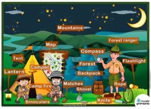 El camping: Vocabulario en inglés para Primaria