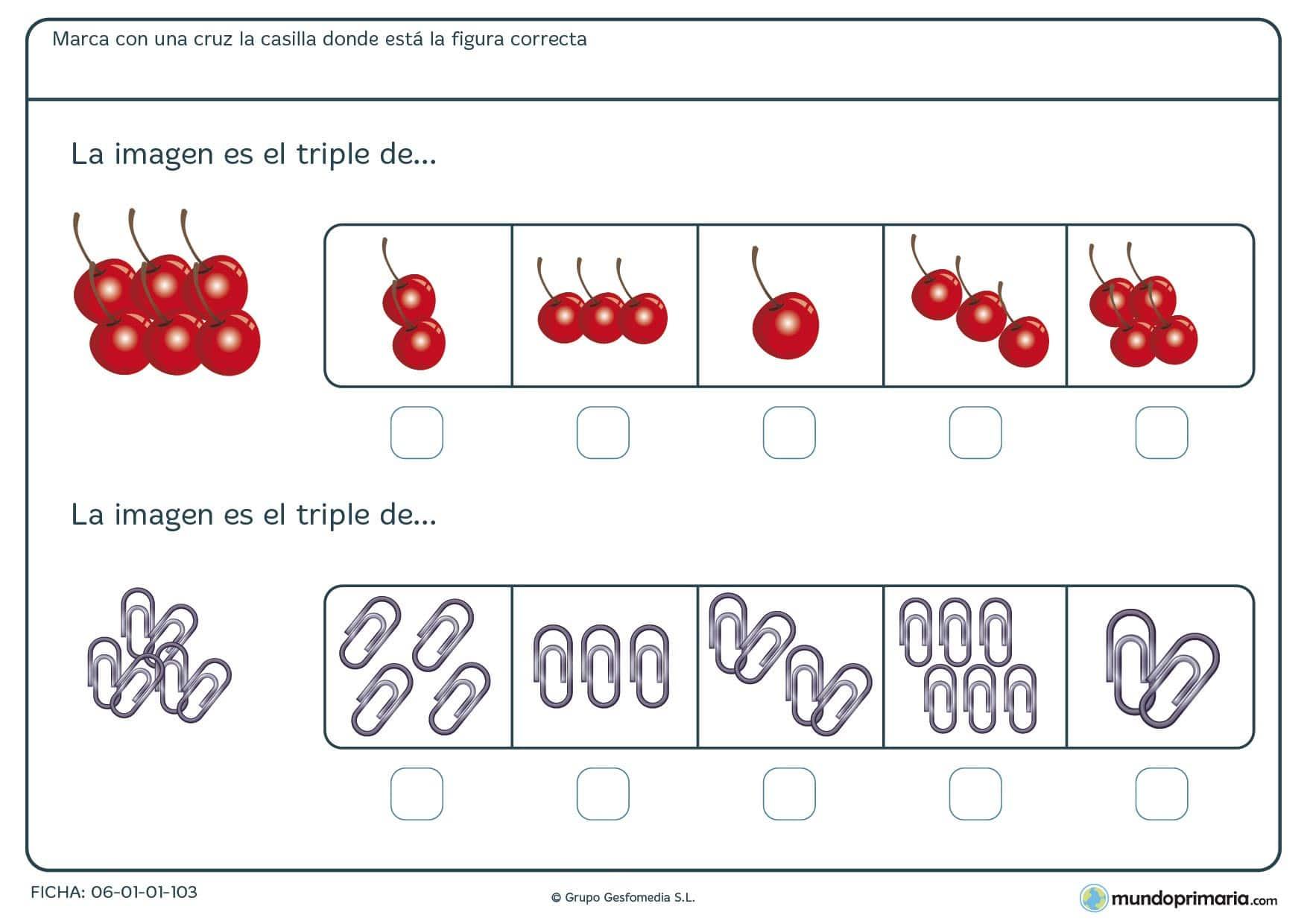 Cerezas y clips para calcular el triple de cada una de ellas