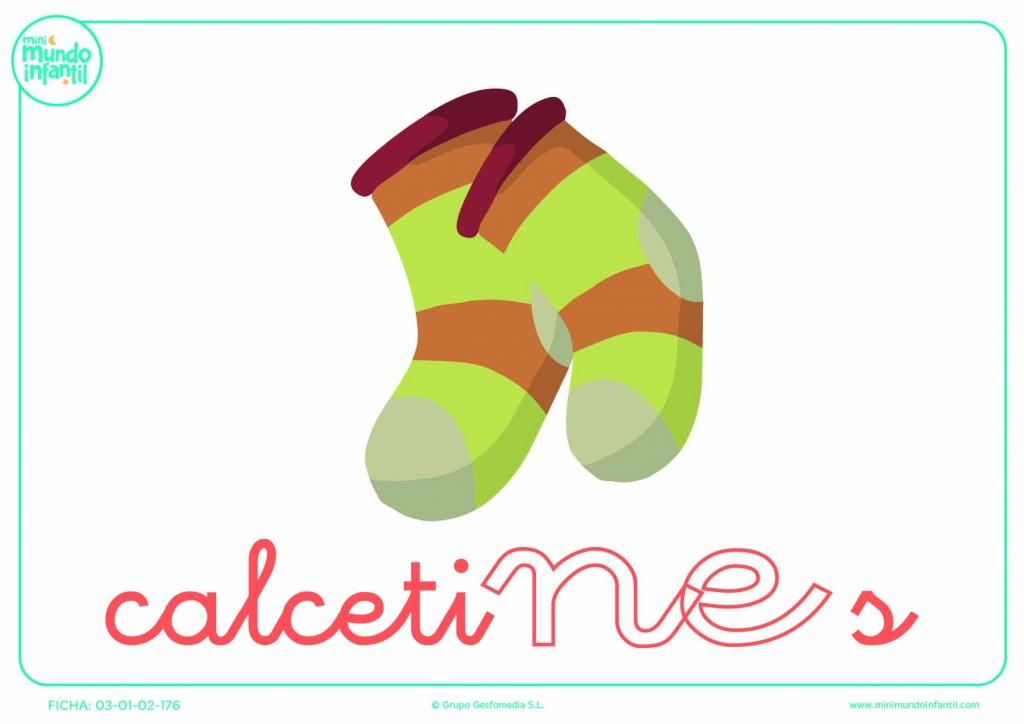 Colorea la sílaba NE minúscula de calcetines