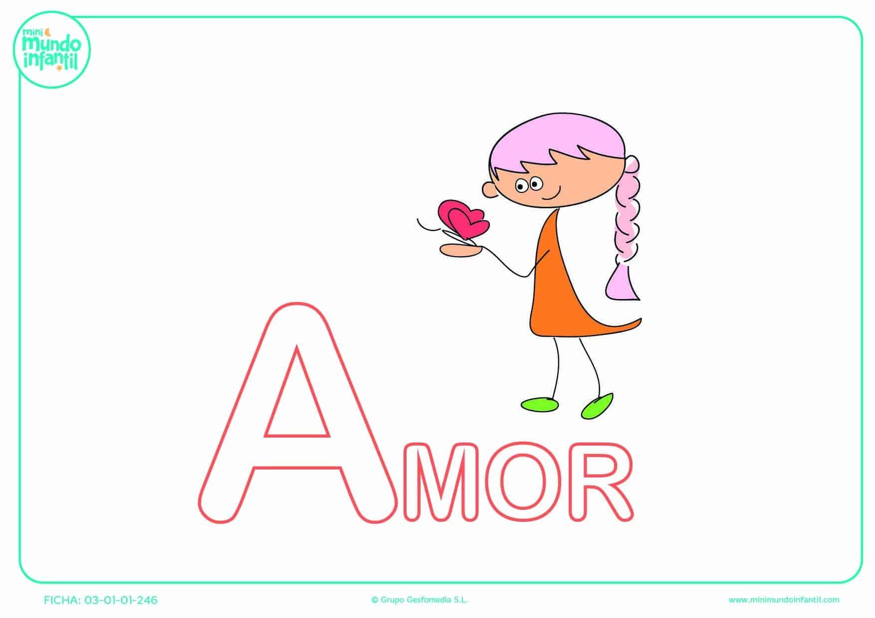 Colorear la letra A mayúscula de amor