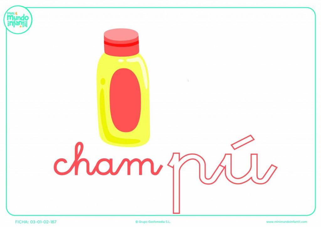 Colorear la sílaba PU de champú en minúsculas