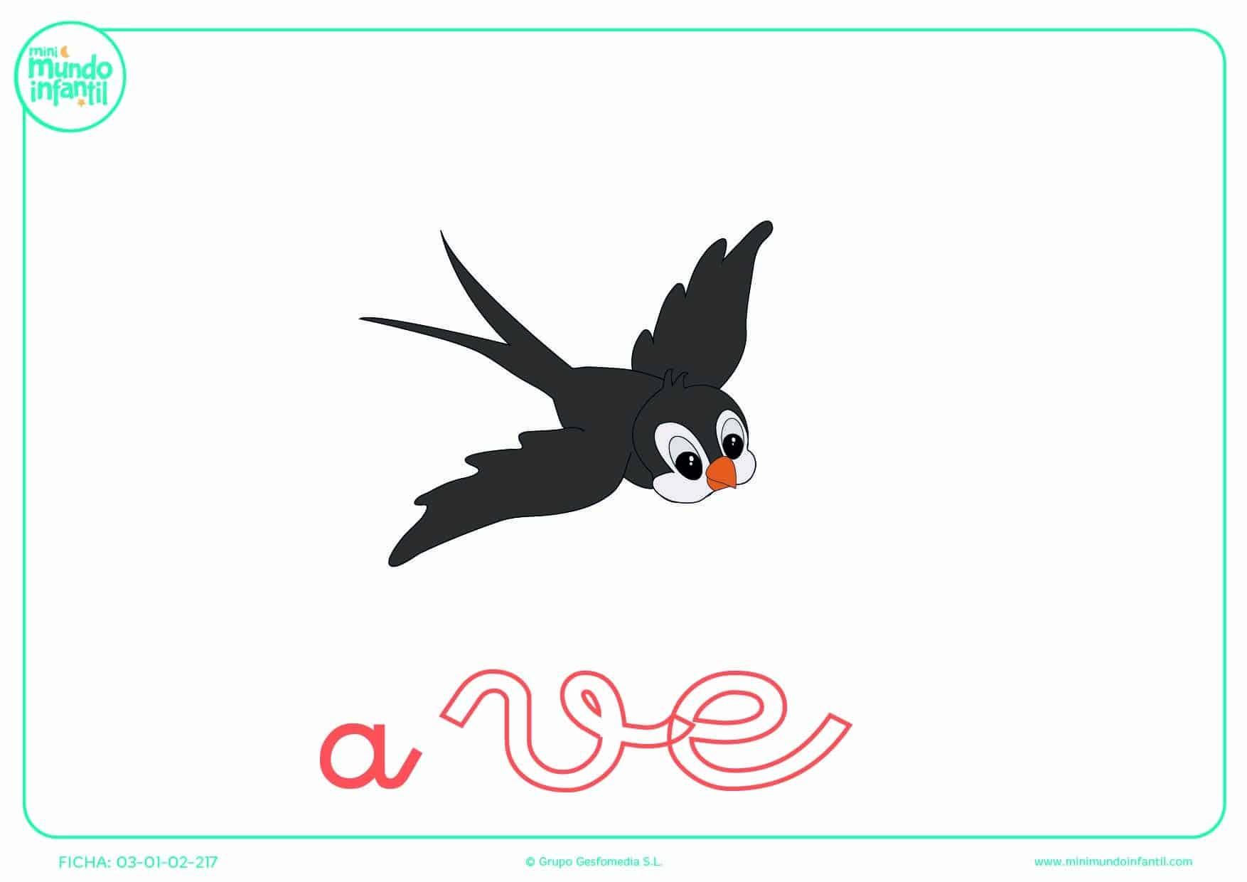 Colorear la sílaba VE minúscula de ave