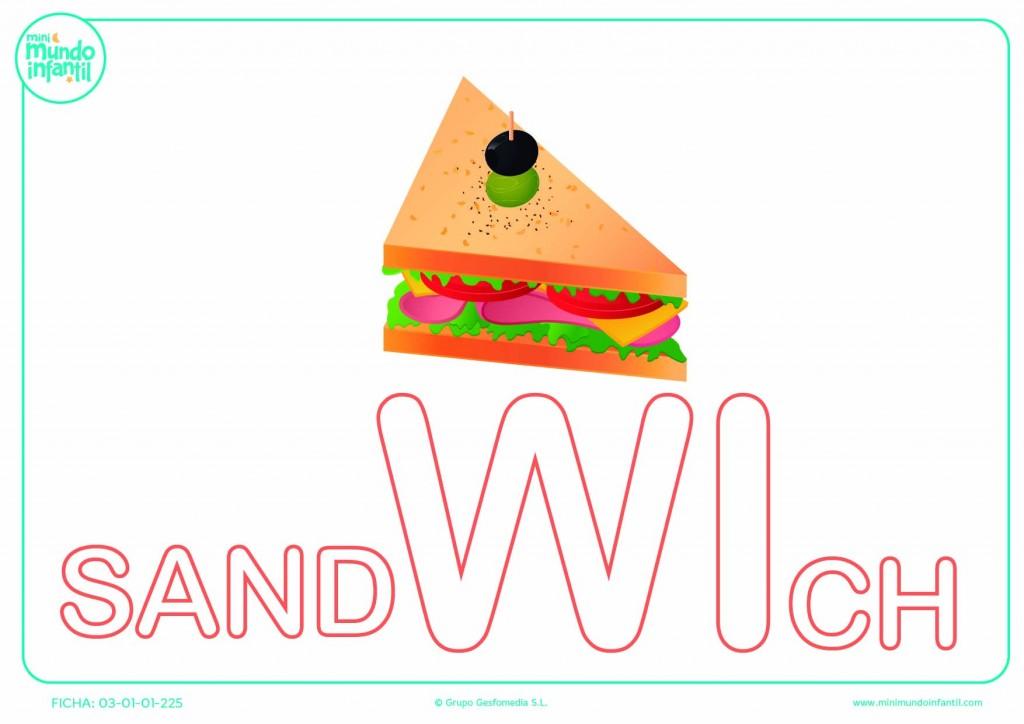 Colorear la sílaba WI de sandwich en mayúsculas