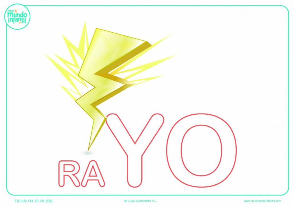 Colorear la sílaba YO de rayo en mayúsculas