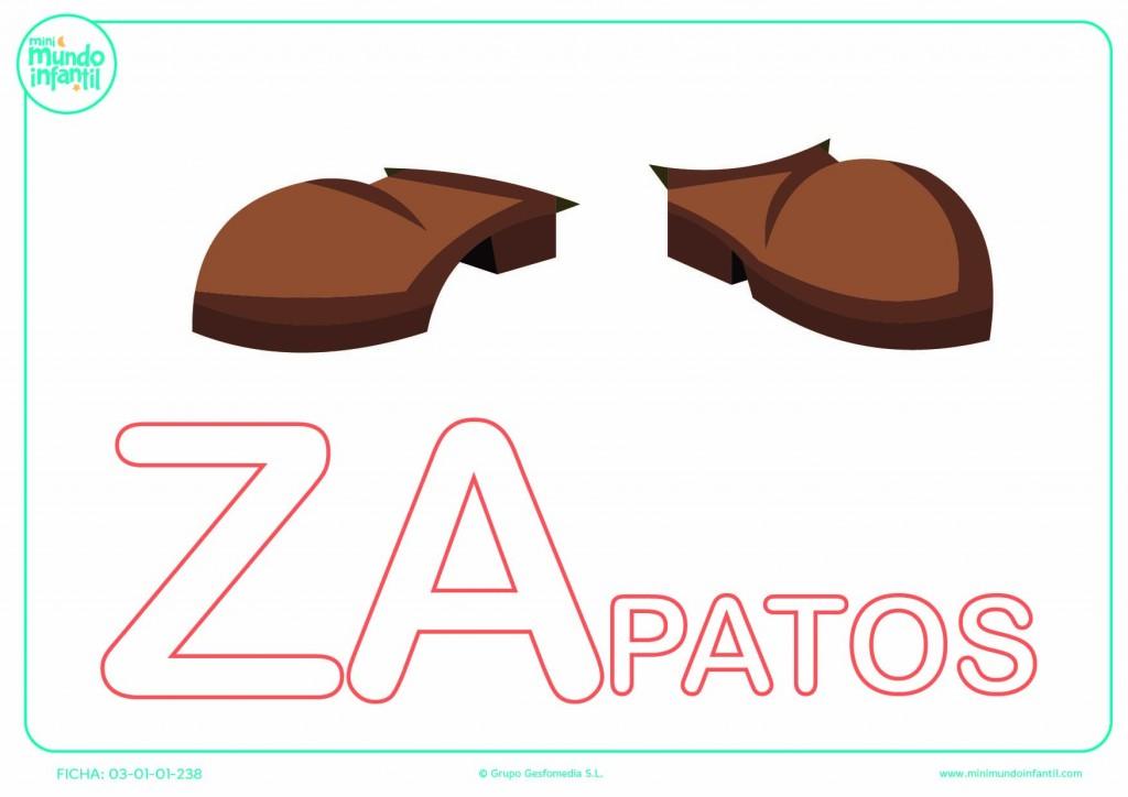 Colorear la sílaba ZA de zapatos en mayúsculas
