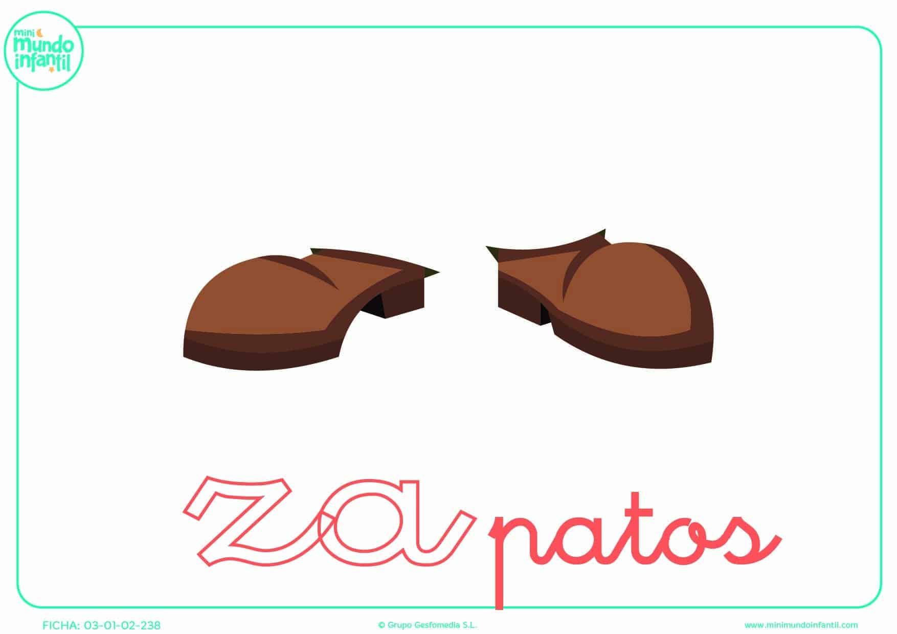 Colorear la sílaba ZA de zapatos en minúsculas