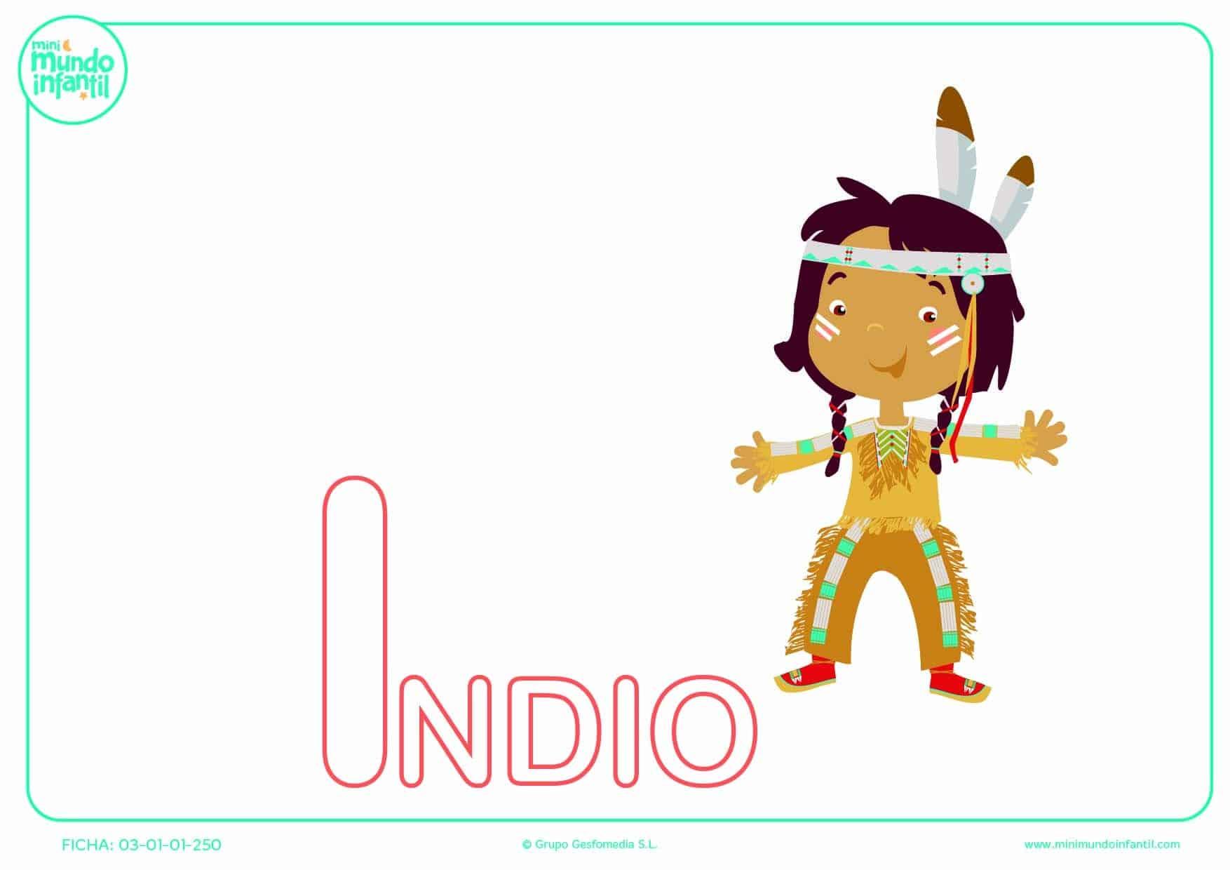 Completar la letra I mayúscula de indio