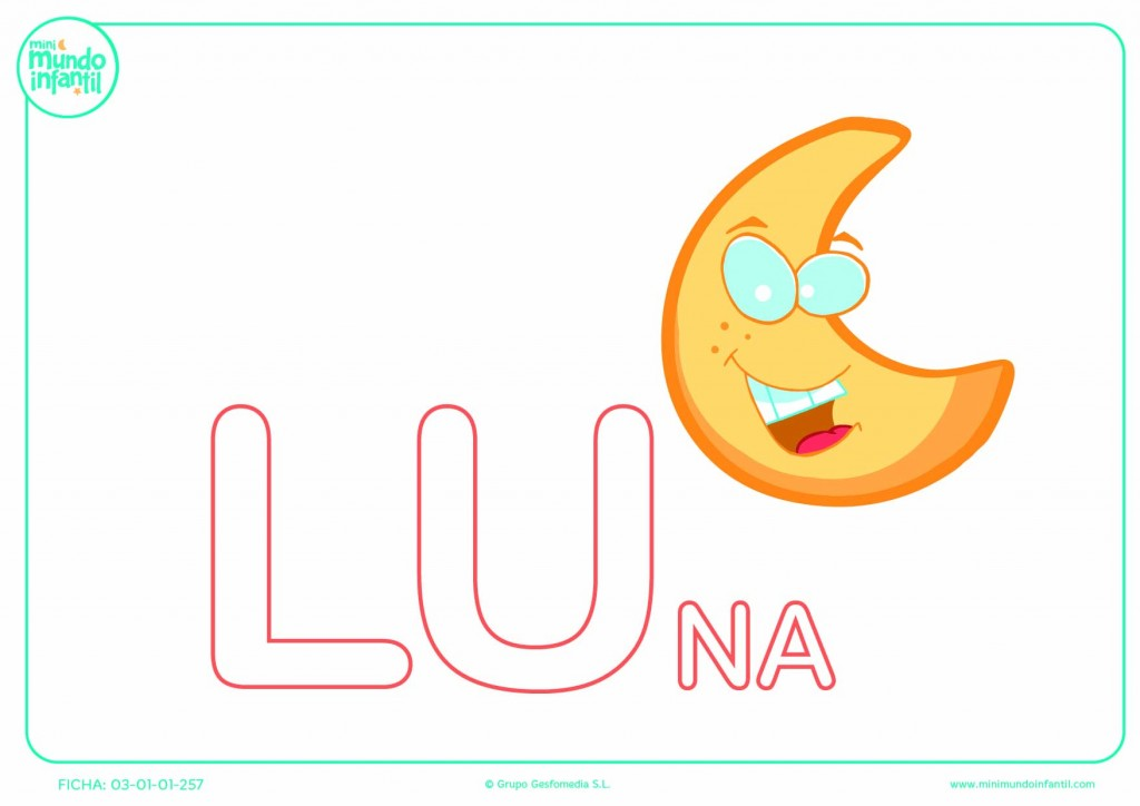 Completar la sílaba LU mayúscula de luna