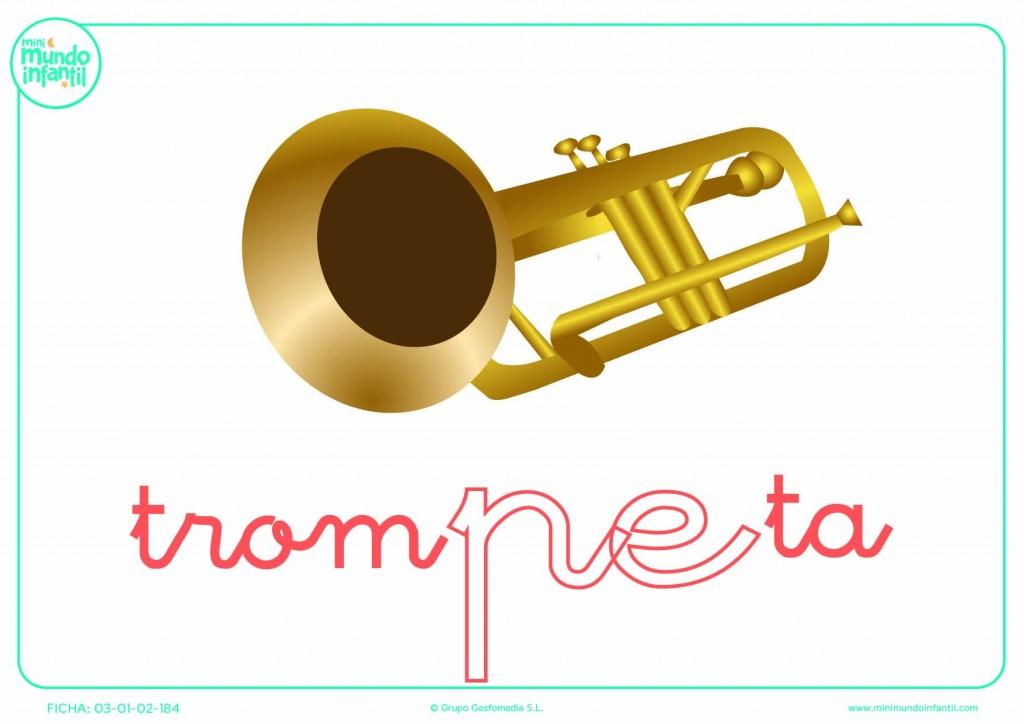 Completar la sílaba PE de trompeta en minúsculas