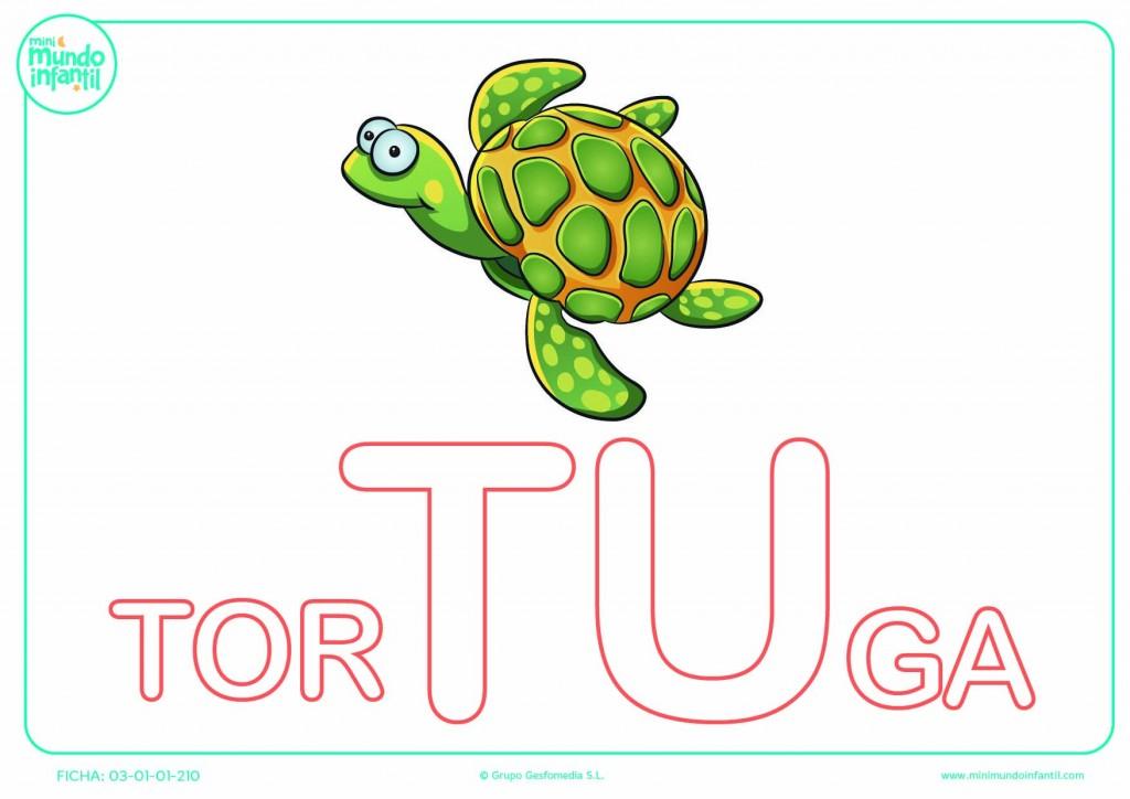 Completar la sílaba TU de tortuga en mayúsculas