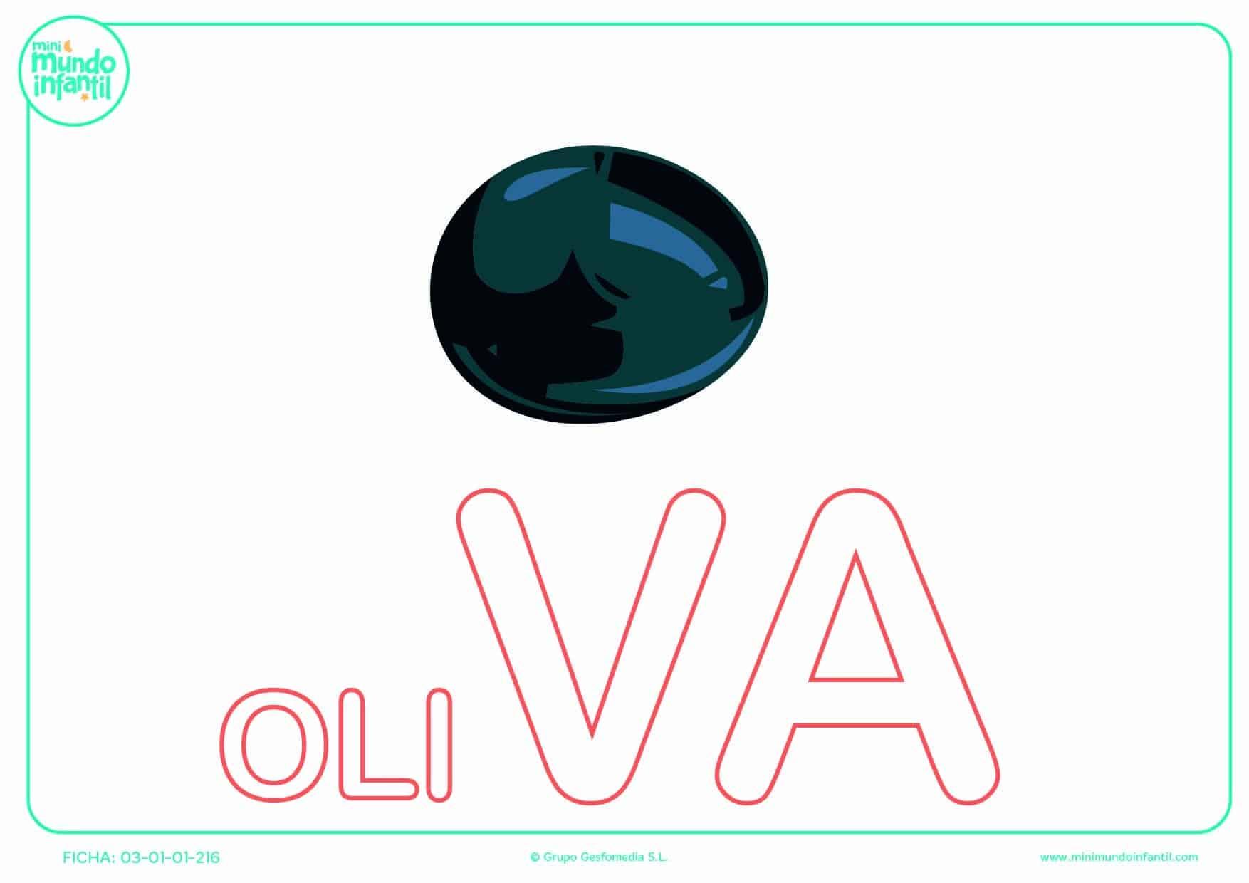 Completar la sílaba VA mayúscula de oliva