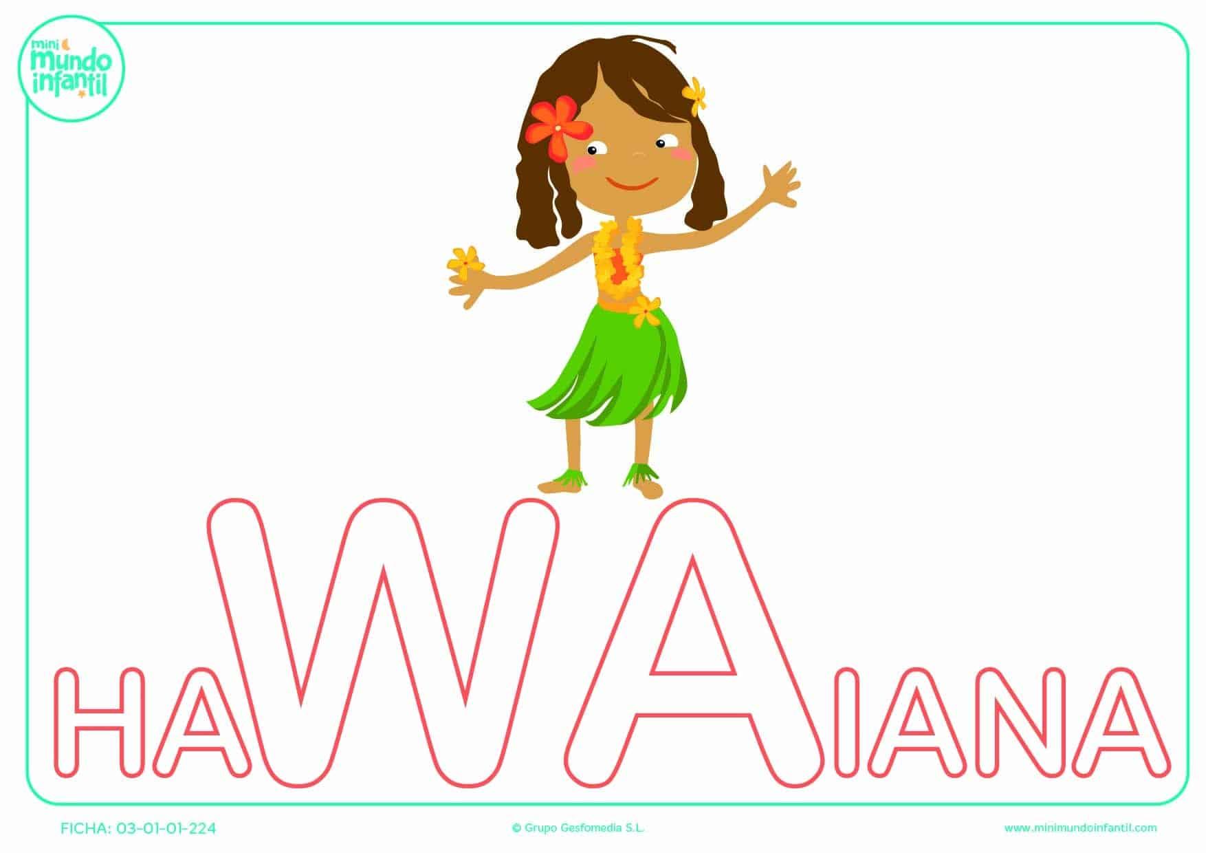 Completar la sílaba WA de hawaiana en mayúsculas