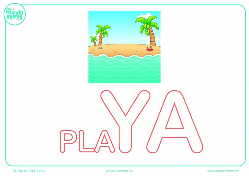 Completar la sílaba YA de playa en mayúsculas