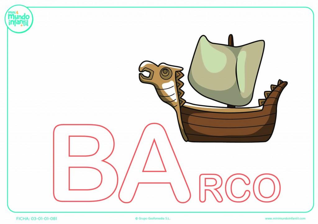 Colorear la sílaba BA mayúscula de barco