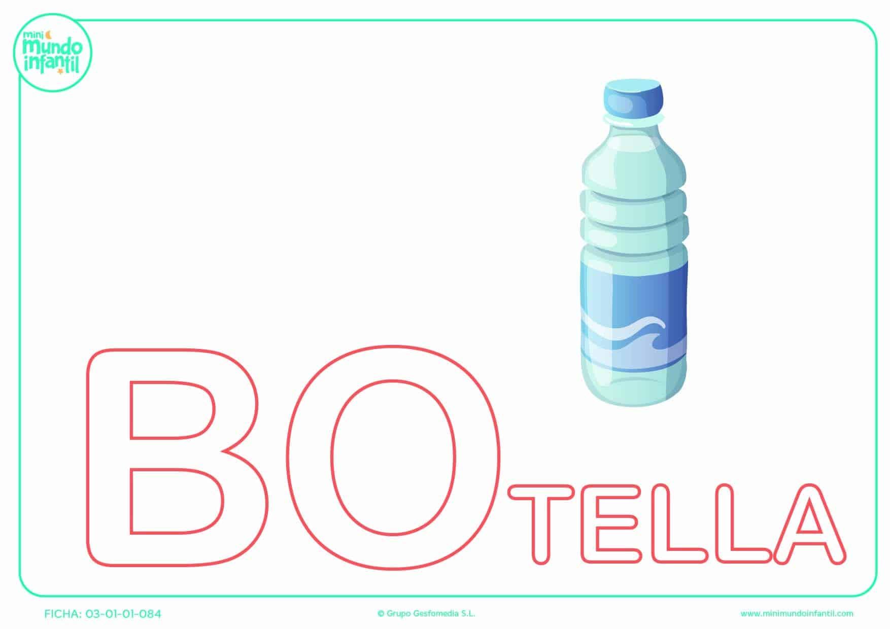 Rellenar la sílaba BO mayúscula de botella