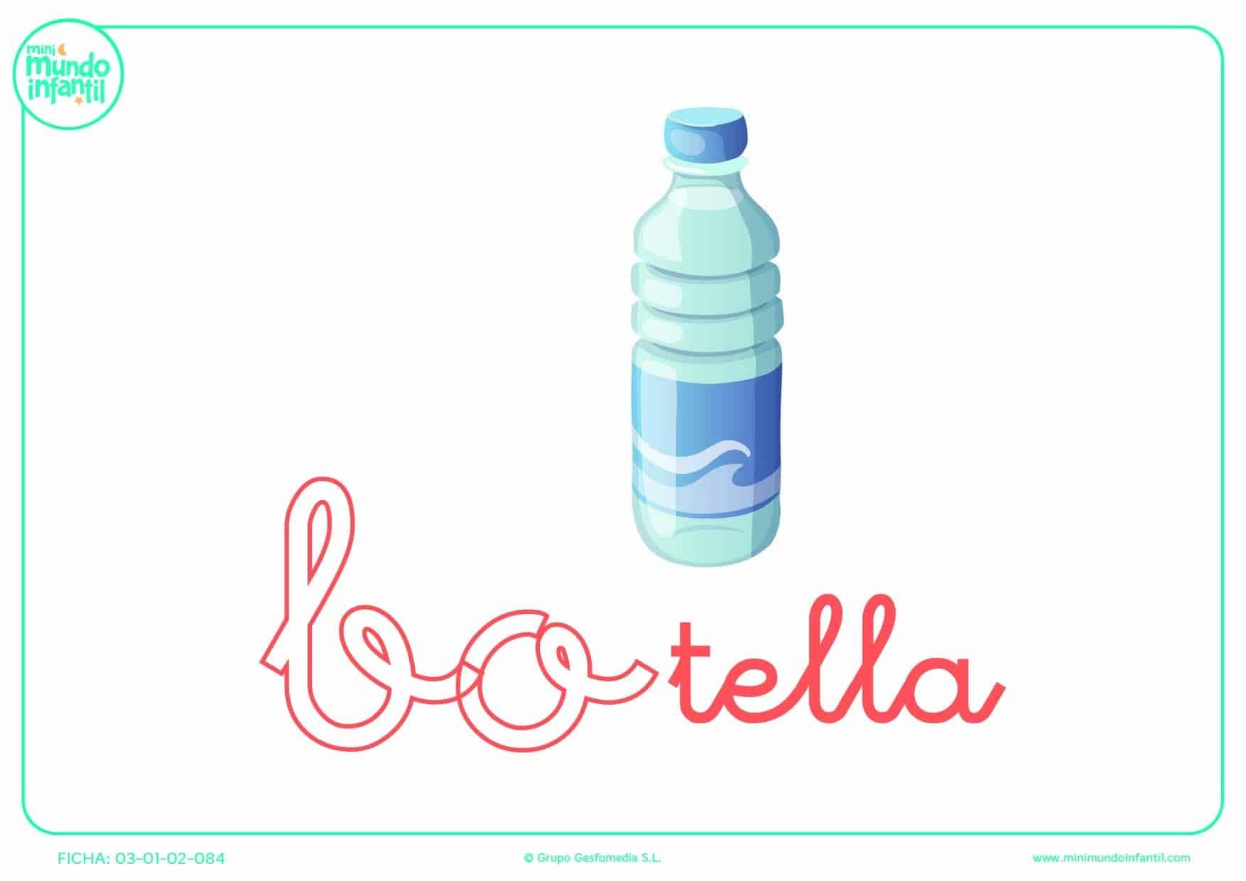 Poner color a la sílaba BO minúscula de botella