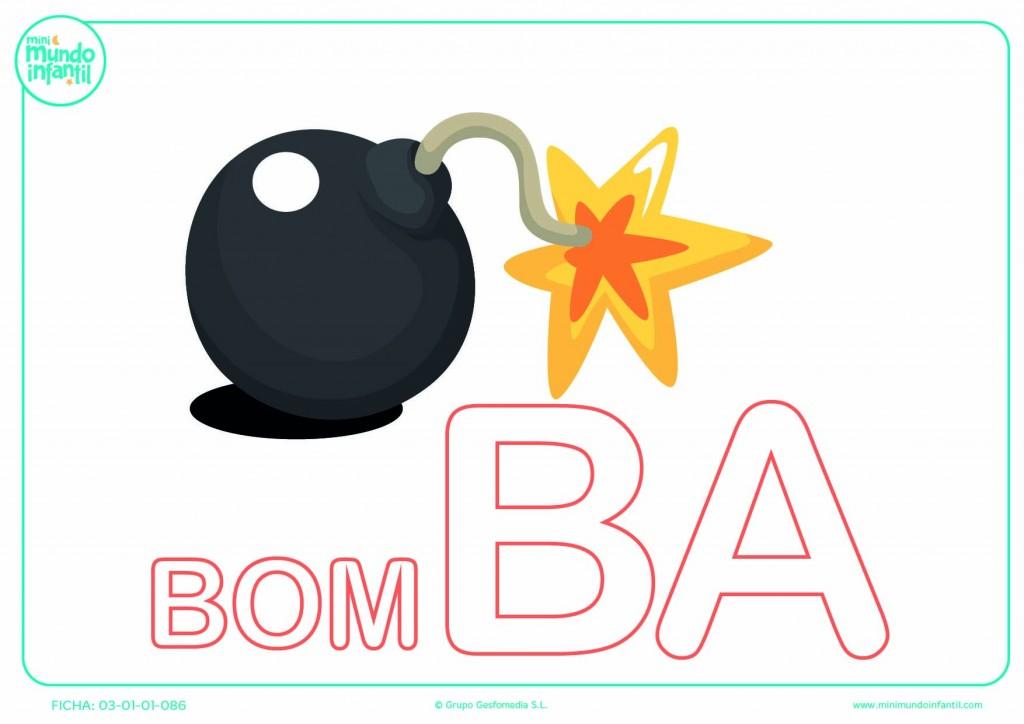 Sílaba BA mayúscula de bomba para poner color